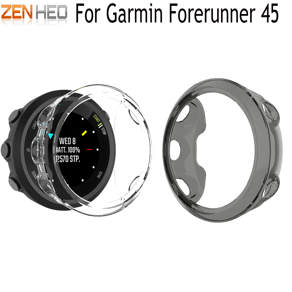 TPU Protection Silicone Case Cover For Garmin Forerunner 45 Smart Watch Band Shell Case For Garmin Forerunner 45 Watch Covers