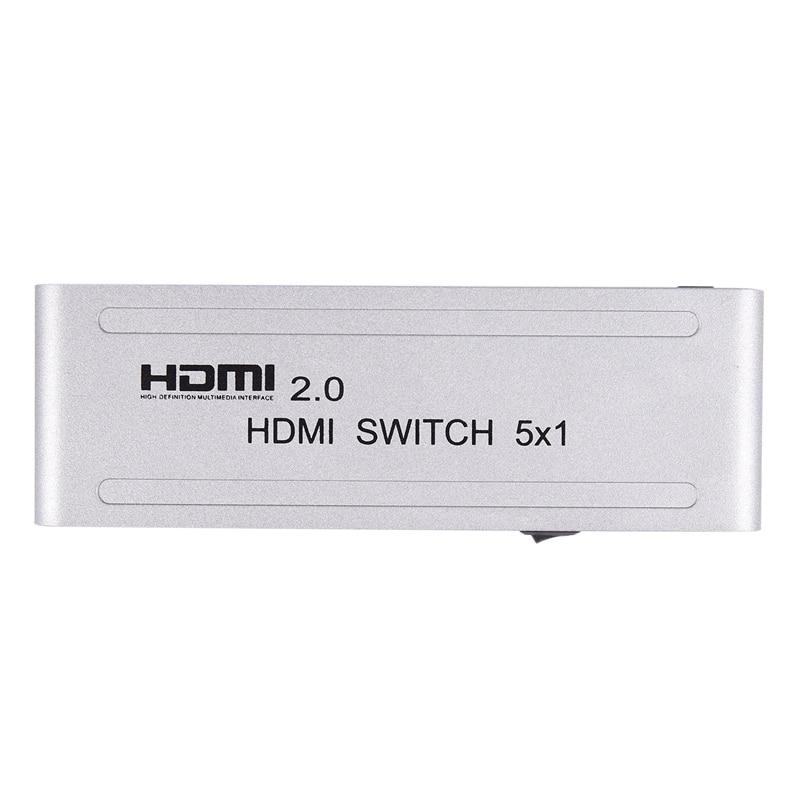 1080P Hdmi Switcher Hdmi 2.0 5X1 Switch Audio Video Converter 4Kx2K@60Hz Support Hdr-Us Plug