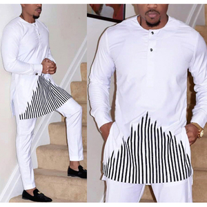 Image 1 - H & D 2019 african dashiki kleidung für männer keine kappe shirt hosen set stickerei tops hosen anzug männer traditionelle afrikanische kleidung