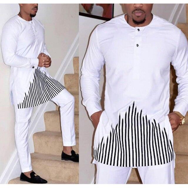 H & D 2019 african dashiki kleidung für männer keine kappe shirt hosen set stickerei tops hosen anzug männer traditionelle afrikanische kleidung