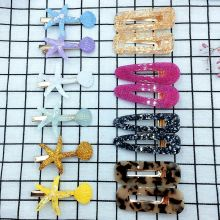 14 Pcs 6.5cm Mixed Color Included 8 Acrylic Hairpins And 6 Starfish Hair Clips For Girls Cute Accessories