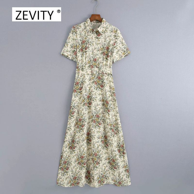 New Women fashion turn down collar floral print sashes midi shirt dress female short sleeve casual vestidos chic Dresses DS4130