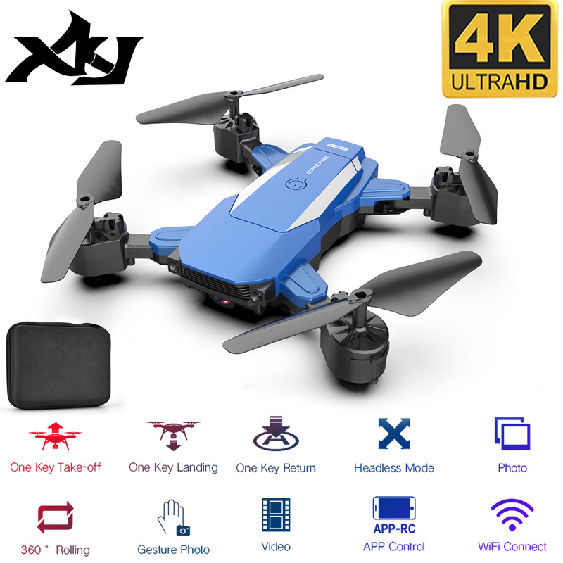 XKJ New Drone F84 WiFi Drone Long Battery Life RC Folding Quadcopter 4K HD Aerial Photography Remote Control Toys