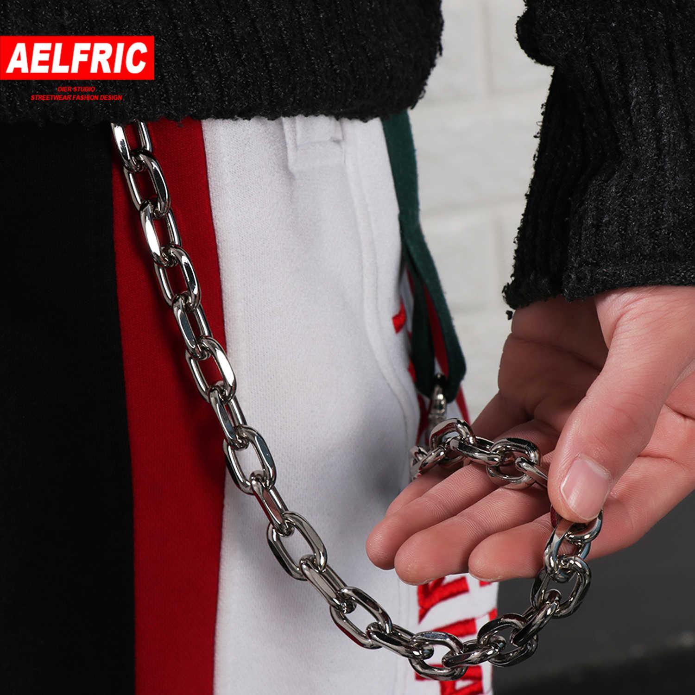 AELFRIC moda calavera colgante Punk Hip Hop hombres mujeres moda cuero cinturones cintura cadena pantalones masculinos cadena billetera cadena Streetwear