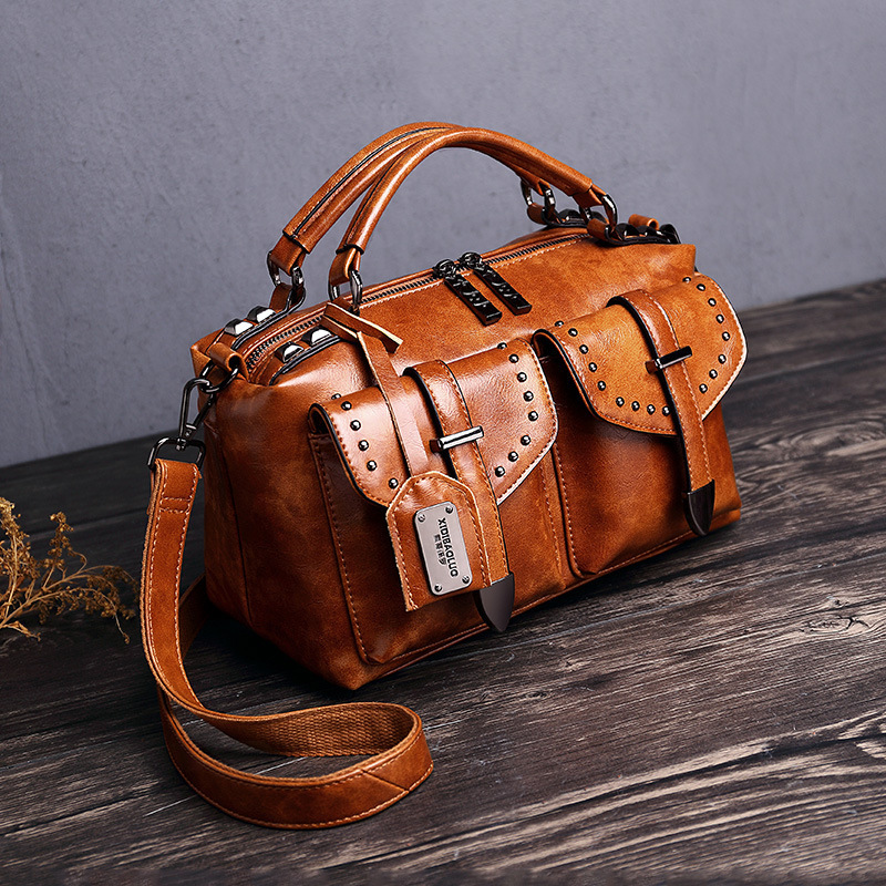 2019 Oil Wax Hand Bill Of Lading Shoulder Messenger Woman Package