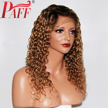 PAFF 13x4 Ombre Curly Human Hair Wig With Baby Hair Pre Plucked Lace Front Wigs Remy Brazilian Wigs Glueless With Two Tone Color цена 2017