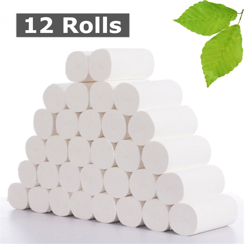 12 Rolls 4 Layer Home Bath Toilet Paper White Soft No Bleaching Toilet Paper Skin-friendly Thick Paper Towels Napkin Tissues
