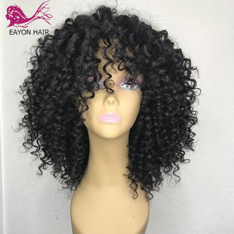 EAYON Indian Short Lace Front Human Hair Wigs 13*6 For Black Women Curly Wig Human Hair Glueless 130% Pre Plucked With Baby Hair