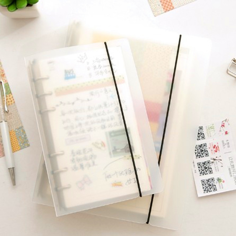 New Simple A5 A6 Translucent PP Planer Binder Spiral Notebook 45sheet Index 6-Hole Loose-leaf Student Stationery Office Supplies