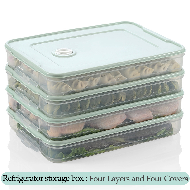 Plastic Refrigerator Fresh-keeping Dumpling Storage Box 2-4 Layers Portable Stackable Dumpling Container Holder Organizer