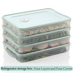 Refrigerador de plástico fresco-mantendo a caixa de armazenamento de bolinho 2-4 camadas portátil empilhável recipiente de bolinho organizador titular
