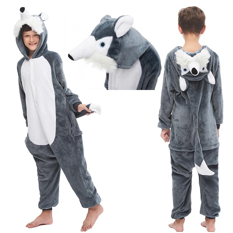 New Animal Wolf Kigurumi Pajamas For Children Boy Girls Unicorn Sleepwear Winter Colar Fleece Overalls Anime Onesie Kids Pyjamas