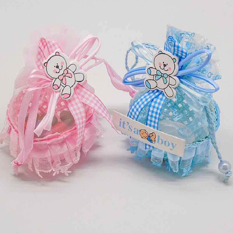 Creative Fruit Basket Candy Box Baby Shower Paper Gift Bag Birthday Favors Decorations Boys Girls Party Set Event Party Supplies