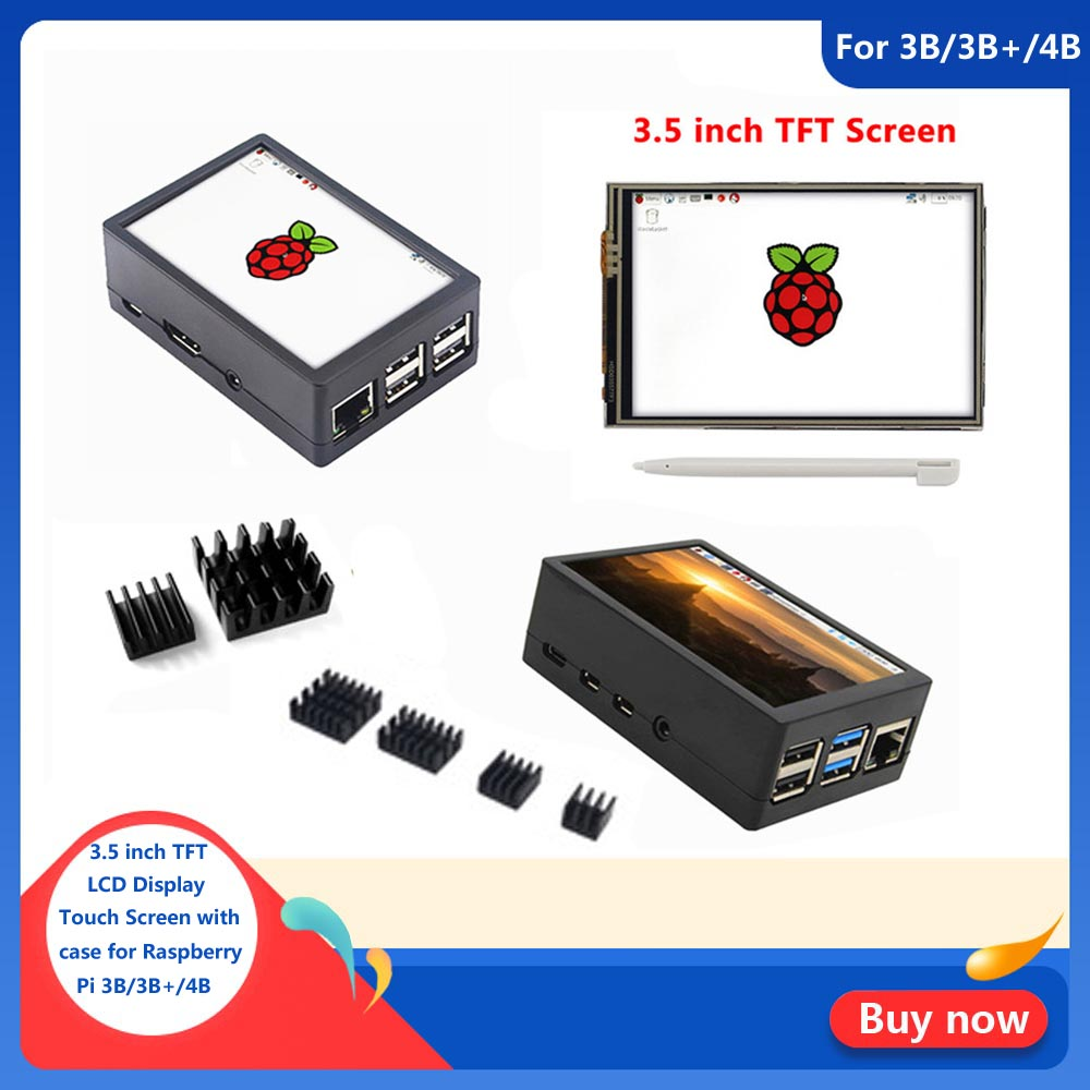 New 3.5 Inch TFT LCD Display Touch Screen + ABS Case + Heat Sink For Raspberry Pi 4B 3B+ 3B