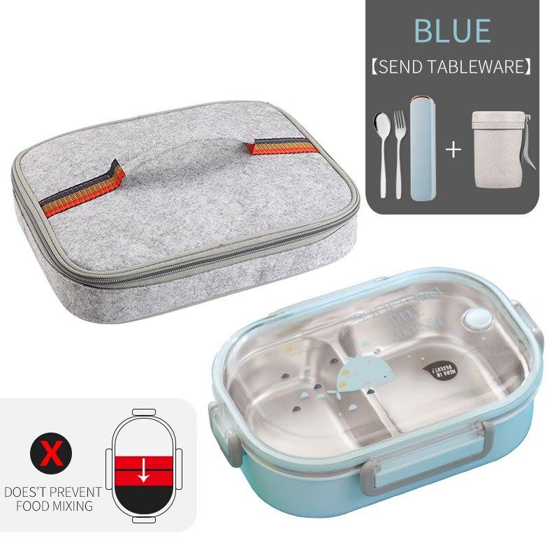WORTHBUY японский Ланч-бокс для детей школы 304 из нержавеющей стали бенто Ланч-бокс герметичный контейнер для еды детская коробка для еды - Цвет: C Blue Bag Cup Set