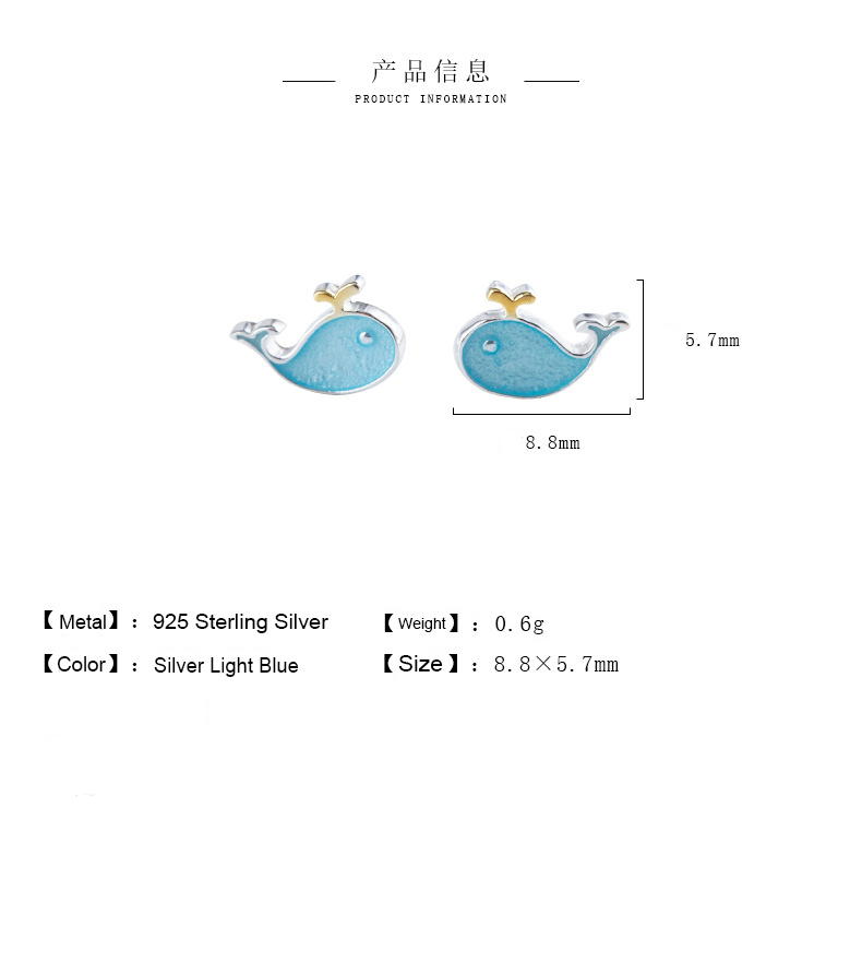 H50a142c99e614902b664f1e79993fab8F - Stud Earrings for Women with 925 Sterling Silver Earrings Dolphin Light Blue Jewelry Accessories Wholesale