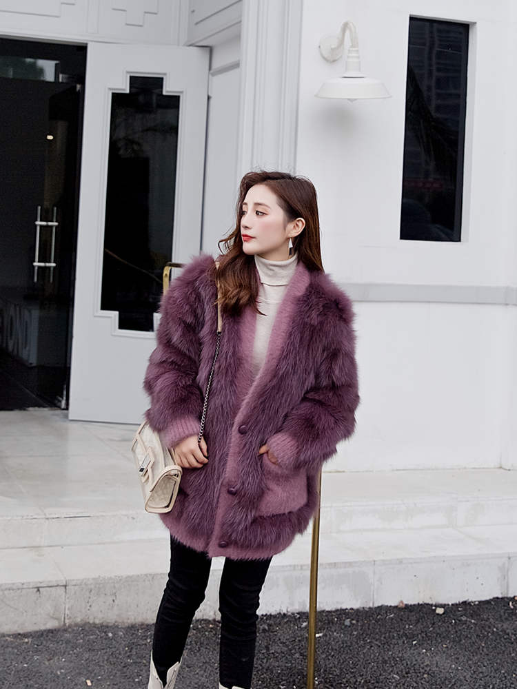 OFTBUY 2019 Real Fur Coat Winter Jacket Women Natural Fox Fur Rabbit Velvet Loose V-neck Thick Warm Outerwear Streetwear Luxury