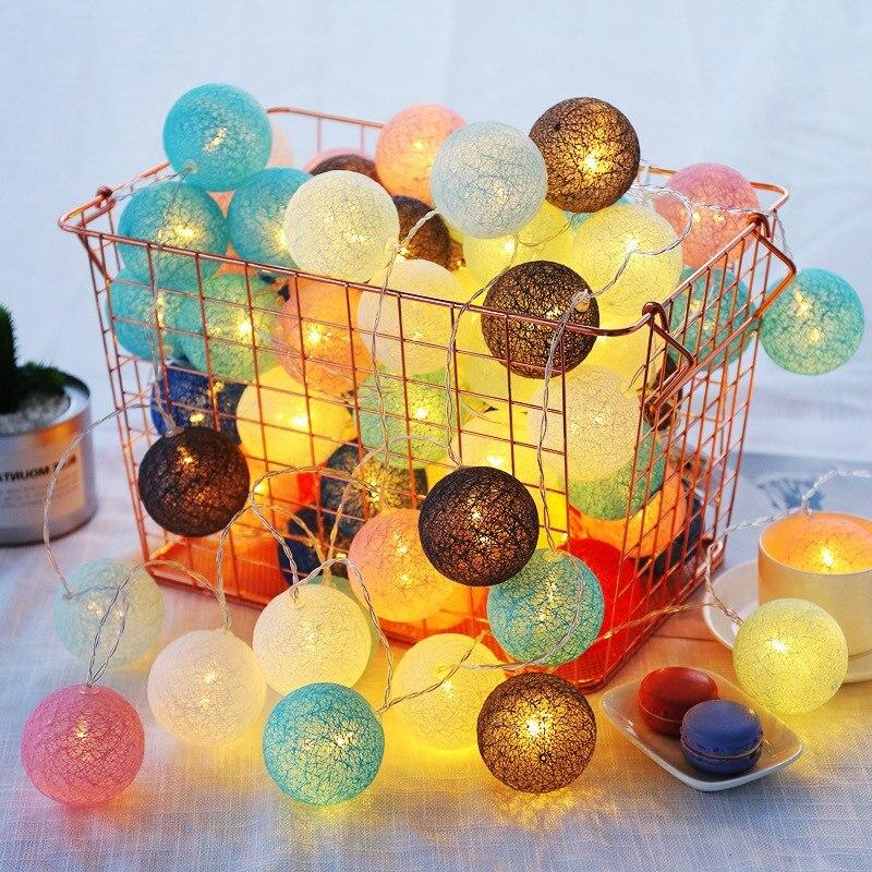 7,5 M 50 LED Baumwolle Ball Girlande Lichter String Weihnachten Weihnachten Fee Lichter Dekorationen für Baby Bett Hause Hochzeit Weihnachten party