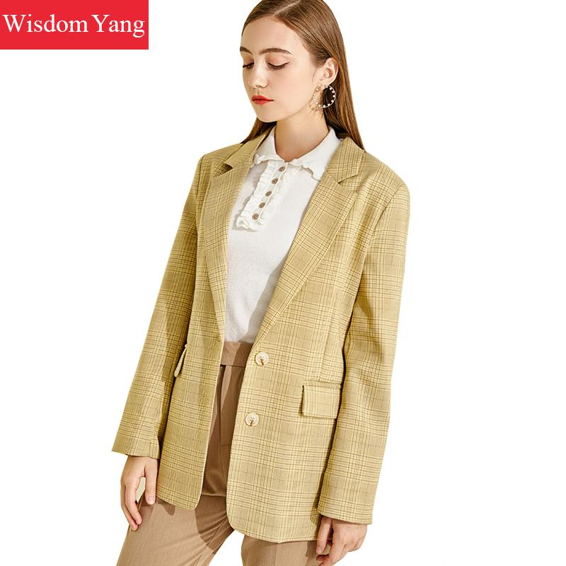 Spring Autumn Womens Suit Jacket Yellow Plaid Female Coats Loose Casual Formail Jackets Office Ladies Korean Outerwear Overcoat