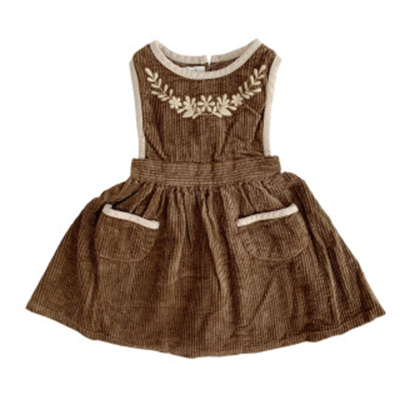 Autumn Dress Embroidered Toddler Girl Girls Vintage Winter Kids Pocket Fall Caramel Quality