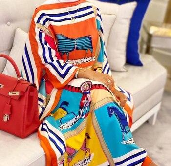 Kuwait Fashion Blogger Recommend Popular printed Silk Kaftan Maxi dresses Loose Summer Beach Bohemian kaftan long dress for lady