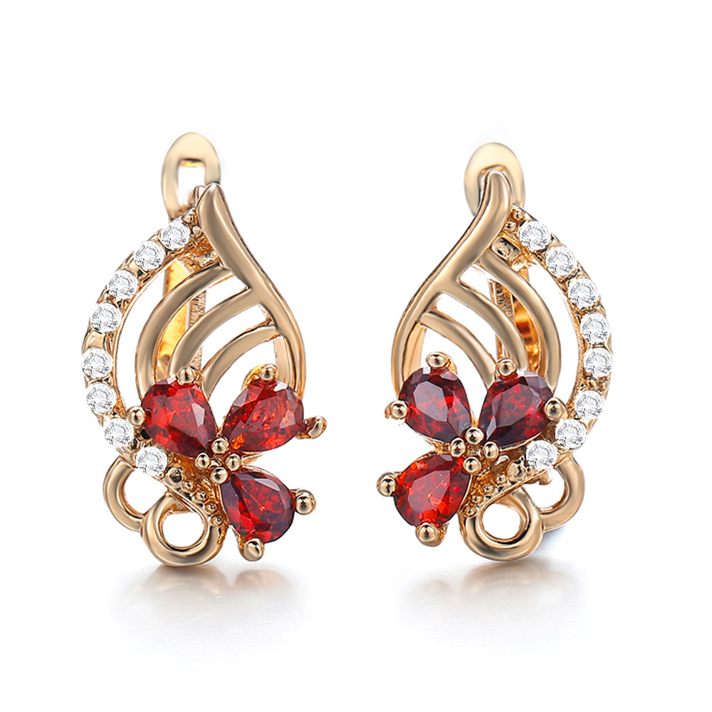 Hanreshe Exquisite Crystal Zircon Gold Color Female Girl Quality Earrings Jewelry For Wedding Dress With Accessories