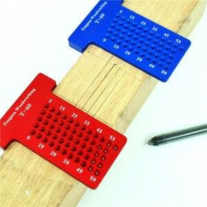 Image 3 - T60 Woodworking Hole Scriber Ruler Aluminum Alloy T shaped Ruler Woodworking Mini Scriber Crossed Measuring Tools
