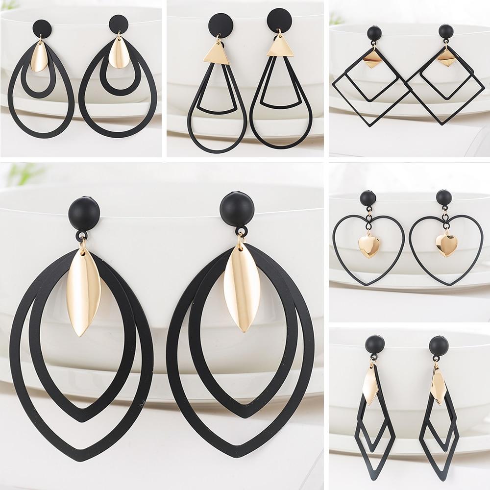 WYBU Summer Style Golden Black Circle Drop Earrings Star Hollow Water Drop Earing Triangle Jewel Alli Express Brinco Bijouterie