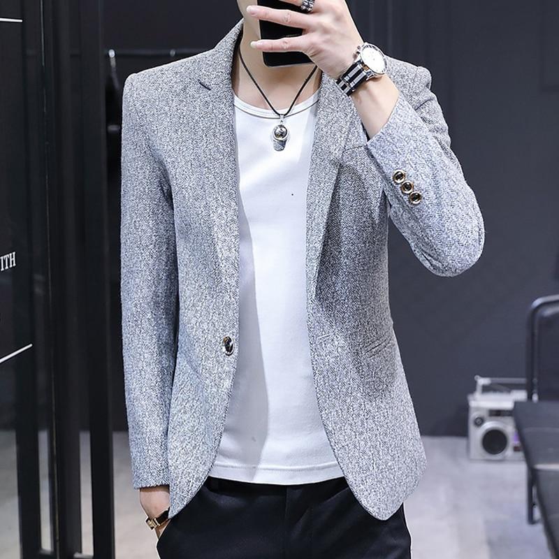 Short Grey Stylish Mens Blazer Slim Fit Office Jackets Male Suit Classic Blazers Buttons Trajes Hombre Casuales Coats JJ60XX
