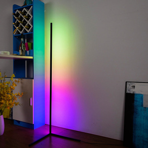 Nordic RGB Corner Floor Lamp Modern Simple LED Rod Floor Lamps for Living Room Bedroom Atmosphere Standing Indoor Light Fixtures(China)