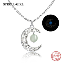 personalized 925 sterling silver Crescent moon pendant necklace hanging with glowing ball fashion jewelry Making for women gifts цена
