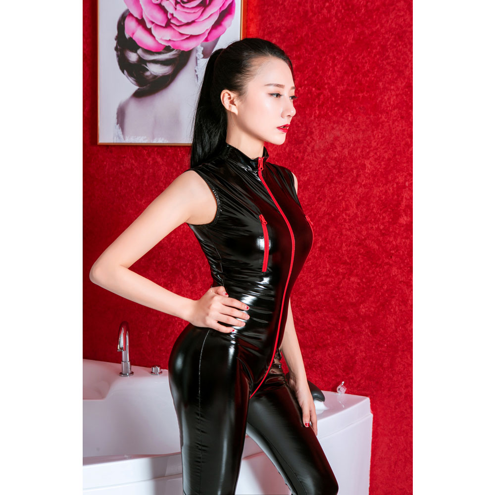 Zipper Open Crotch Wetlook Shiny Bodysuit <font><b>Catsuit</b></font> Fetish Erotic Costumes Bodystockings Sexy Lingerie Latex Suit Overalls for <font><b>Sex</b></font> image