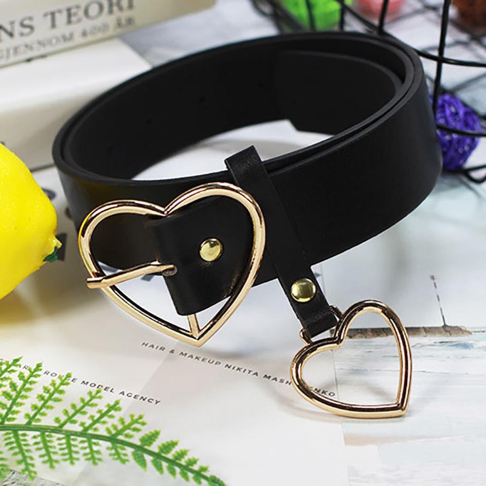 Fashion Women Party Dress PU Faux Leather Heart Metal Pin Buckle Waist Belt Strap Waistband Belts Women Female