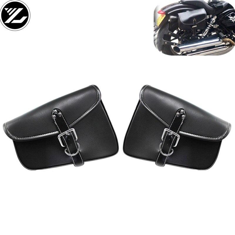 Universal Motorcycle Saddlebags Leather Side Storage Tool Pouch Luggage Bag for yamaha suzuki honda kawasaki Triphum Indian 883