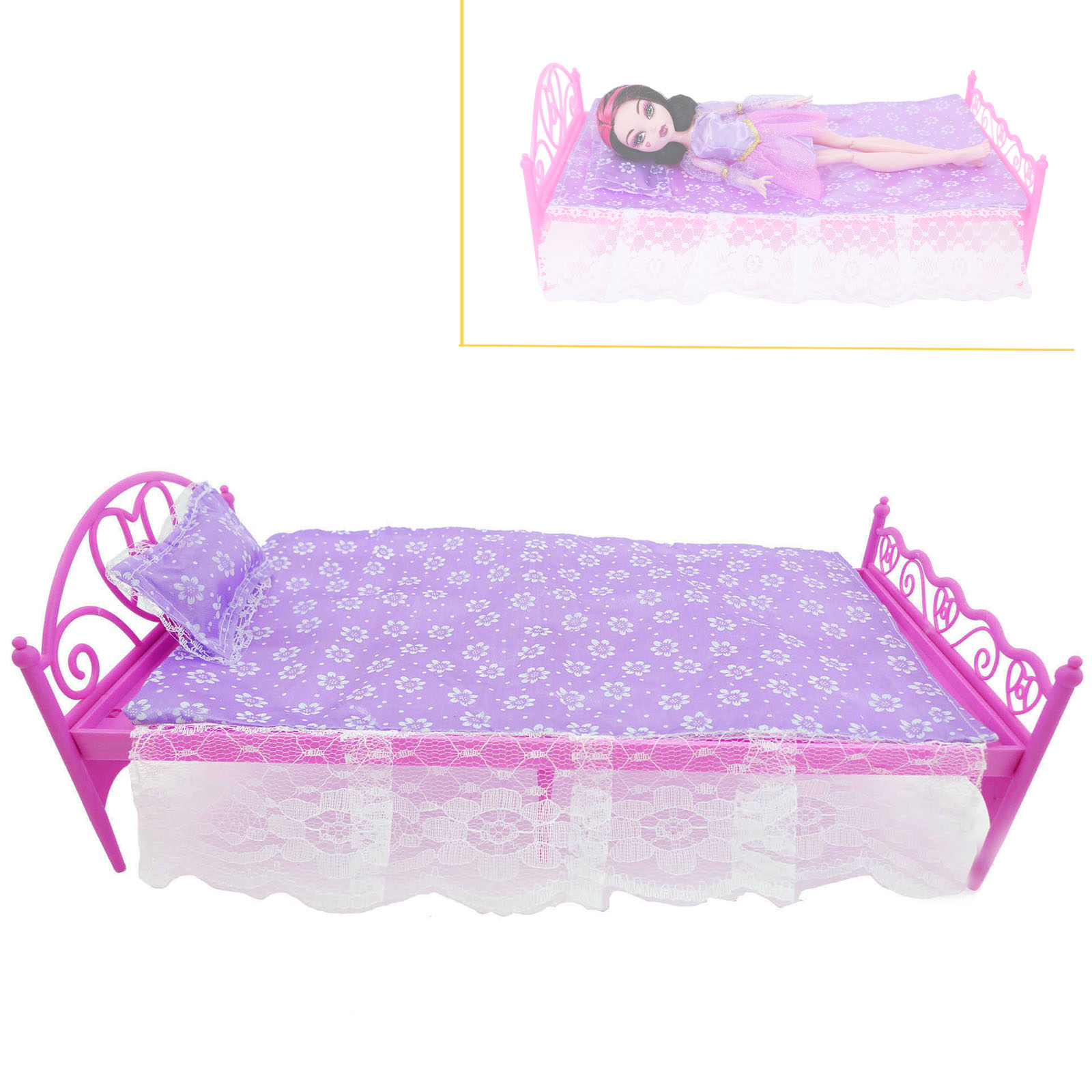 Fashion Purple Doll's Bedroom Sets Dollhouse Bed Pillow Bedsheet Furniture Accessories For Barbie Doll Clothes Play House Toy