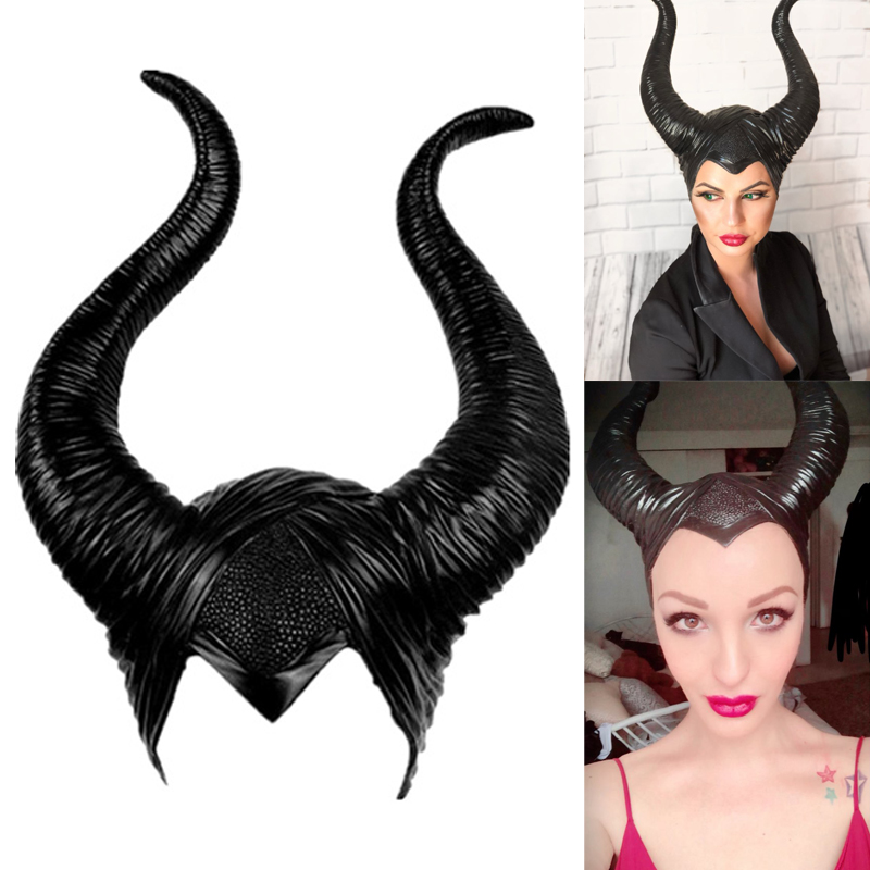 Maleficent:Mistress Of Evil Headwear Mask Cosplay Props Unisex Halloween Black Queen Headgear Horns Hat