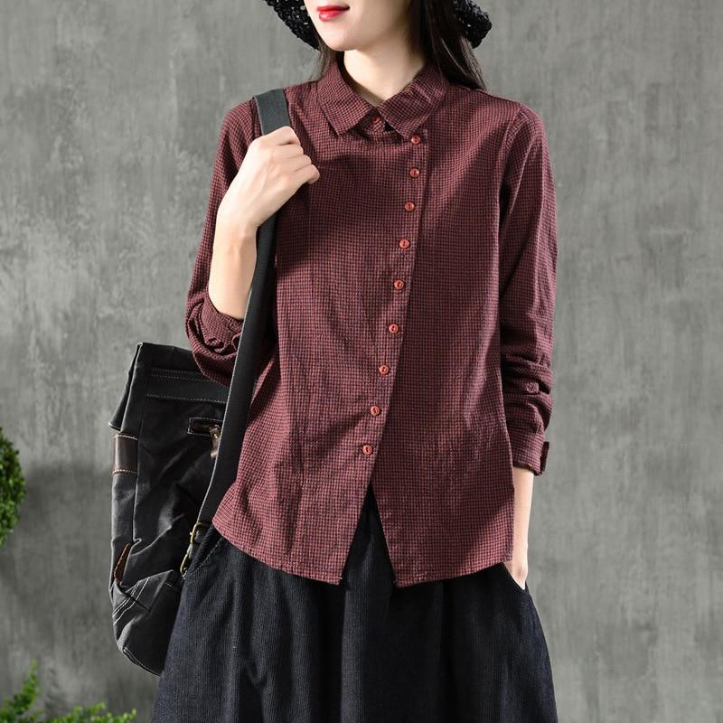 Vintage Cotton Linen Shirts Women's Blouses Plaid Cloths 2019 Spring Lapel Collar Long Sleeve Button Casual Shirts AA166S30