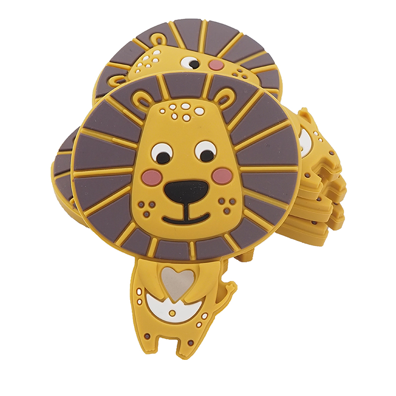 Chenkai 5PCS BPA Free Silicone Lion Teether Cute Animal Catrtoon Teethers For DIY Baby Nursing Pacifier Clip Soother Chain