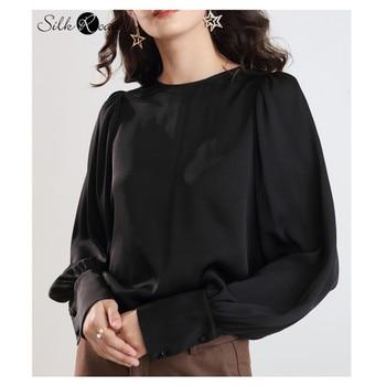 Silviye doble Qiao camisa de seda de manga farol de satén para mujer, camiseta de manga larga, camisa ancha de seda de pino para fiesta, novedad de 2020