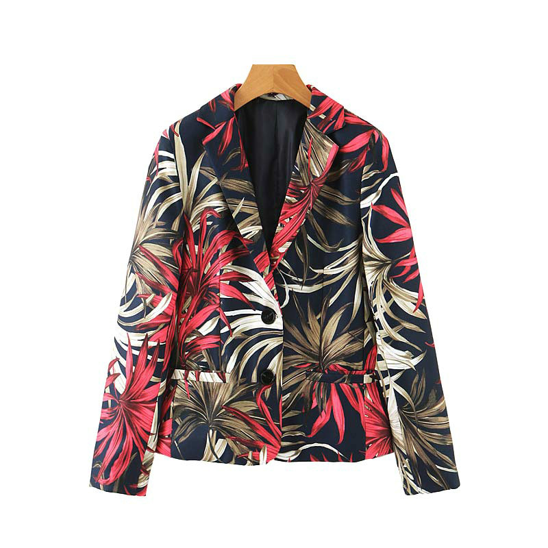 2019 Women Blazers Jackets New Stylish Floral Pattern Vintage Blazer Female Office Wear Coat Casual Lady Outwear Tops