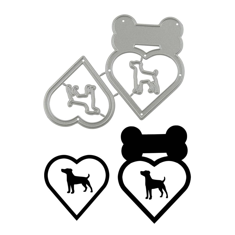 Naifumodo font b Pet b font Dog Heart Metal Cutting Dies Bone Scrapbooking New 2019 For