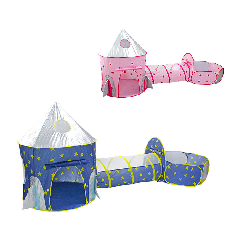 3 In 1 Spaceship Tent Quick Open Game Play House Portable Rocket Ship Tent  Indoor Crawling Tunnel For Kids Children's Gift