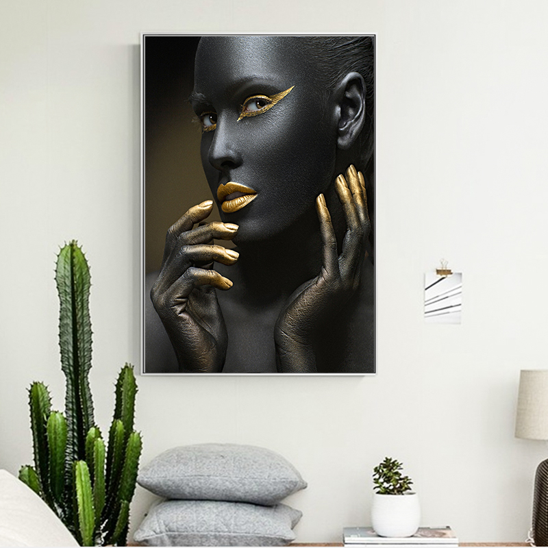 African Black Women Canvas Art Painting Golden Black Color Wall Art Prints For Living Room Posters and Prints Modern Decoration in Painting Calligraphy from Home Garden
