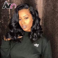 NY Haar Bob Körper Spitze Frontal Perücke Kurze Haare Perücke 100% Menschliches Haar Nicht-Remy Natur Farbe Haar Perücke für Schwarze Frauen Pre-Gezupft