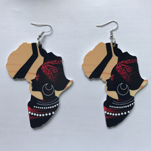 Ankh Earring Afro Jewelry Wooden Wood-Africa Black Queen Vintage Gift Map Club DIY Party