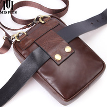 MISFITS Genuine Leather Shoulder Bag Men Fashion Crossbody Small Waist Pack With Card Holder Travel Cell Phone Messenger