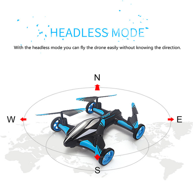 2.4G RC Drone Air-Ground Flying Car H23 Quadcopter with light One-key Return Remote Control Drones Model Helicopter Best Toys 3