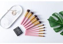 10Pcs Make Up Brushes Wood Handle High Quality Purple Makeup Brush Set Luxury Suit Tools Eyebrow