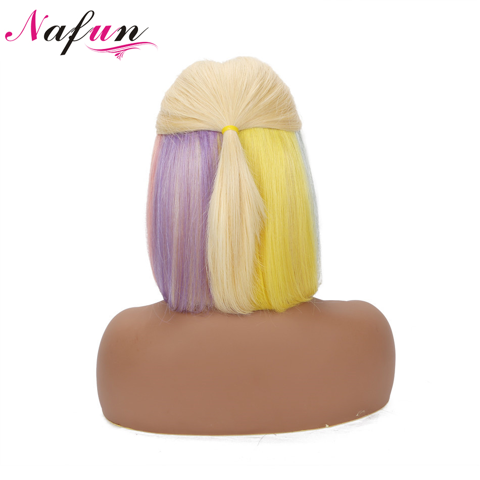 Blonde Rainbow Lace Front Wigs Brazilian Lace Front Bob Wigs Remy Hair Pre Plucked Wig Straight Wigs Bleached Knots Lace Wigs