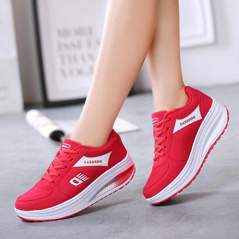 Kancoold ファッション女性通気性のレースアップカジュアルプラットフォームの靴高さの増加ソフト底ロッキング靴ウェッジシューズ